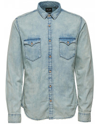 Only & Sons Originals Slim Denim Long Sleeve Shirt Light Blue | Jean Scene