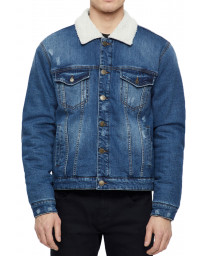 Only & Sons Sherpa Denim Jacket Blue | Jean Scene