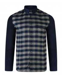 French Connection Pop Flannel Check Long Sleeve Shirt Charcoal Melange/Marine | Jean Scene