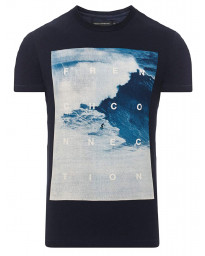 French Connection MAVERICKS SURF SLIM Print Summer T-shirt Marine Blue | Jean Scene