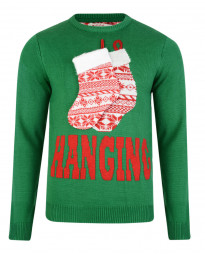 3D Novelty Christmas Jumper Crew Neck Stocking Hanging Green