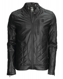 Soul Star Men's Keegan Faux Leather Biker Jacket Black