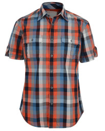 Esprit Regular Fit Short Sleeve Check Shirt Spicy Orange