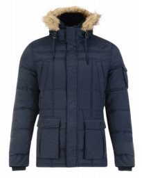 Threadbare Humberside Faux Fur Parka Jacket Navy Blue