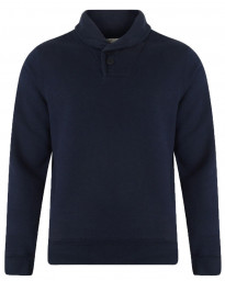 Dissident Shawl Neck Plain Sweatshirt Dark Navy Blue