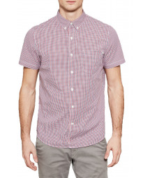Timberland Gingham Slim Suncook Shirt Short Sleeve Tango Red | Jean Scene