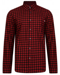 Timberland Flannel Slim Gingham Check Shirt Long Sleeve Tibetan Red | Jean Scene