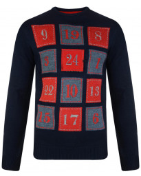 Xmas Novelty Jumper Crew Neck Christmas Knit 3D Advent Calendar Navy Blue | Jean Scene