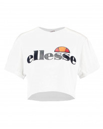 Ellesse Womens Logo Crop T-Shirt Short Sleeve White | Jean Scene