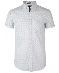 Soul Star Poker Dott Short Sleeve Cotton Shirt White Image
