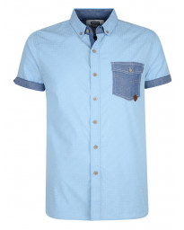 Smith & Jones Priviledge Pattern Shirt Short Sleeve Cerulean Blue Image