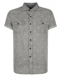 Smith & Jones Disclosure Denim Shirt Short Sleeve Light Grey Image