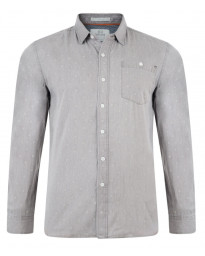 Crosshatch Print Shirt Long Sleeve Cotton Light Grey Image