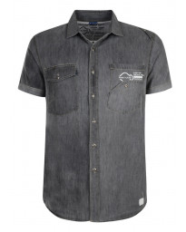 Smith & Jones Uxbridge Denim Shirt Short Sleeve Dark Grey Image