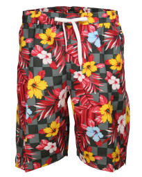 Soul Star Casual Summer Floral Shorts Charocoal Red Image