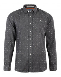 Crosshatch Print Shirt Long Sleeve Cotton Charcoal Image