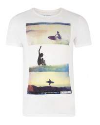 Blend Surf Beach Print T-shirt Beige Cream Image