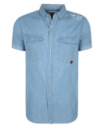 Smith & Jones Del Mar Denim Shirt Short Sleeve Light Blue Image