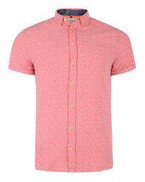 Blend Regular Fit Short Sleeve Pattern Shirt Coral Pink Image