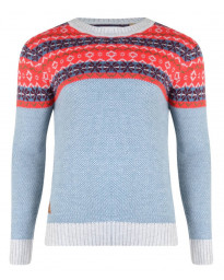 Rock & Revival Joseph Fair Isle Crew Neck Knit Jumper Sky Blue Image
