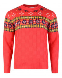 Rock & Revival Blitz Fair Isle Crew Neck Knit Jumper Poppy Red Image