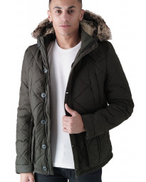 Duck and Cover Bazza Padded Parka Jacket Khaki | Jean Scene