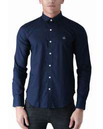 Duck and Cover Slim Birch Long Sleeve Shirt Navy | Jean Scene