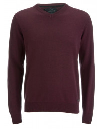 Threadbare V-Neck Cotton Knit Jumper Burgundy Marl | Jean Scene