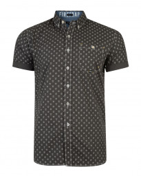 Firetrap Bulstrode Anchor Pattern Shirt Short Sleeve Dark Shadow | Jean Scene