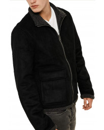 Threadbare Synthetic Laser Borg Lined Aviator Suede Jacket Black | Jean Scene