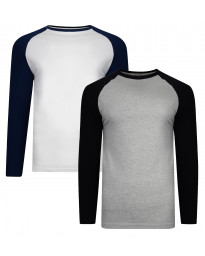 f5d4df1d67 Smith   Jones Men s Hertz Long Sleeve Raglan T-Shirt 2 Pack Grey Marl