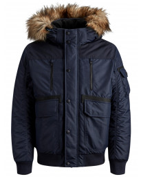 Jack & Jones Men's Globe Puffer Bomber Jacket Sky Captain | Jean Scene
