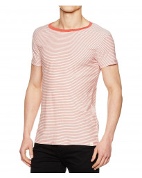Lee Casual Crew Neck Stripe T-shirt Faded Red | Jean Scene