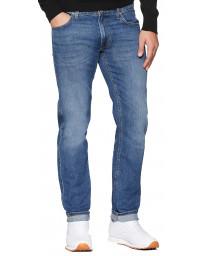 Lee Daren Zip Regular Slim Light Blue Worn Blue Denim Jeans | Jean Scene