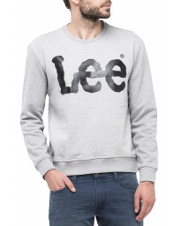 Lee Crew Neck Logo Sweatshirt Grey Melange | Jean Scene