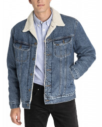 Lee Sherpa Rider Denim Trucker Jacket Dark Stone | Jean Scene