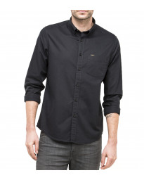 Lee Button Down Plain Shirt Long Sleeve Black | Jean Scene