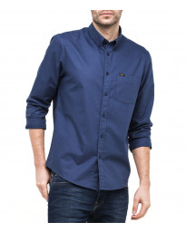 Lee Button Down Plain Shirt Long Sleeve Deep Indigo | Jean Scene