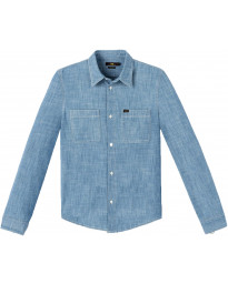 Lee Long Sleeve Button Down Plain Shirt Blue Print | Jean Scene