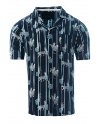 Soulstar Print Hawaiian Object Shirt Short Sleeve Navy | Jean Scene