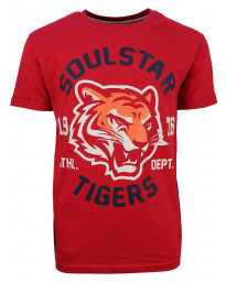 Soulstar Mereum Crew Neck Cotton Tiger T-Shirt Red | Jean Scene