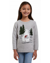 Christmas Jumper Funny Crew Neck Cute Polar Bear Grey | Jean Scene