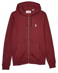 Original Penguin Full Zip Logo Hoodie Tawny Port | Jean Scene