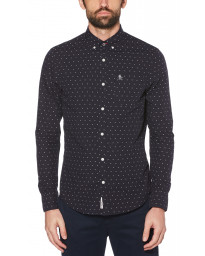 Original Penguin Star Dobby Shirt Long Sleeve Dark Sapphire | Jean Scene