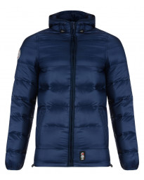 Crosshatch Rabble Hooded Padded Winter Puffer Jacket Iris Blue Blue