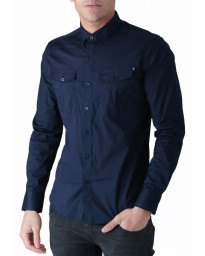Duck and Cover Slim Reynold Long Sleeve Shirt Navy | Jean Scene