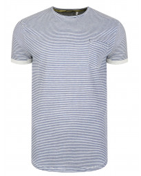 Ringspun Ribble Crew Neck Cotton Stripe T-shirt Grey Marl | Jean Scene