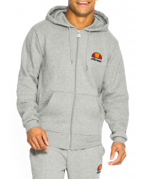 Ellesse Men's Miletto Logo Zip Up Hoodie Athletic Grey Marl | Jean Scene