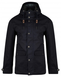 Threadbare Skywalker Hooded Long Cotton Jacket Navy Blue | Jean Scene