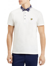 Lyle & Scott Short Sleeve Check Woven Collar Polo Shirt Off White | Jean Scene